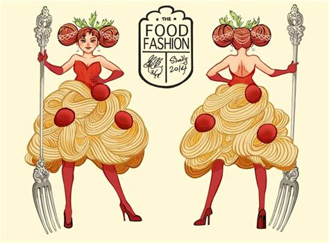 fashion illustration with food shelly chen illustration