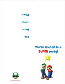 mario bros free printable birthday invitation personalized invites