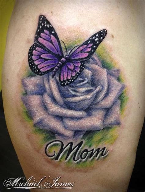 beautiful purple ink rose amp butterfly memorial tattoo with