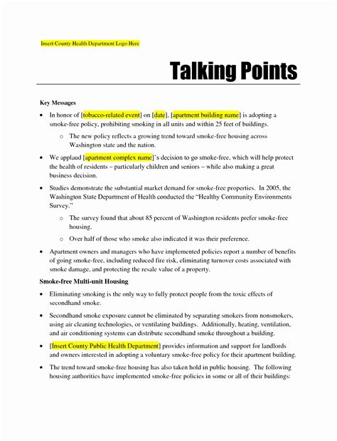 7 talking points template word uetre templatesz234
