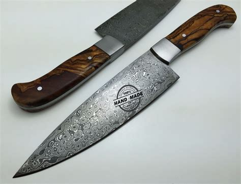 Custom Handmade Knives - regular damascus kitchen knife custom handmade damascus steel4