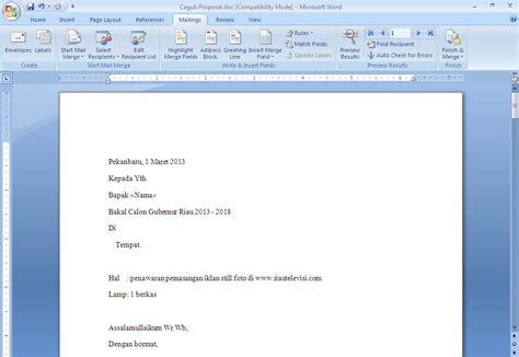 Membuat Mail Merge Dengan Database Excel | membuat mail merge pada document word office 2007 dengan