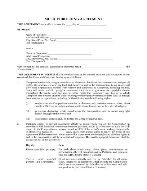Music Publishing Agreement Legal Forms And Business Templates Megadox Com Publishing Agreement Template