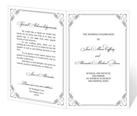 free downloadable wedding program templates wedding program design templates