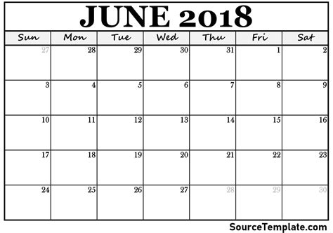 free printable blank calendar june 2018 blank calendar june 2018 printable ideal vistalist co