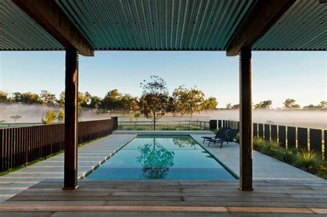 Country Kitchens Australia - corten pool fence and pavilion farmhouse landscape sydney by nicholas bray landscapes