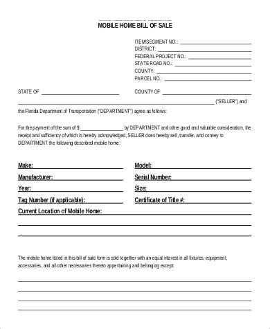 9 Printable Sle Bill Of Sales Sle Templates Bill Of Sale Template For Mobile Home