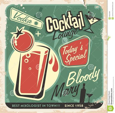 vintage cocktail posters retro cocktail lounge vector poster design royalty free