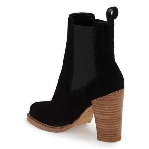 s black chunky heel boots suede toe ankle