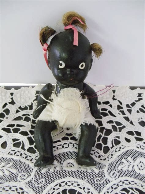 black doll made in vintage black americana bisque doll 4 inch jointed baby