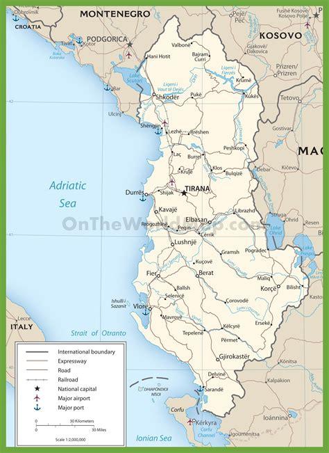 map of albania road map of albania