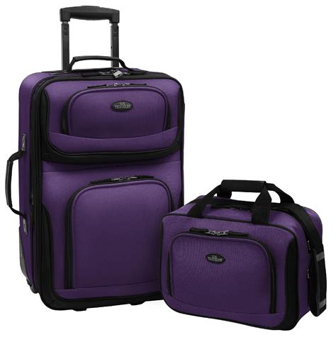 new 2 piece luggage travel set expandable carry on