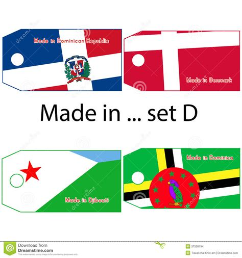 countries that start with the letter d illustration vector price tag with word made in country s 1144