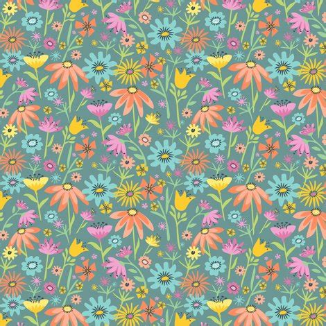 rainy day flowers: blue gray fabric sheri_mcculley