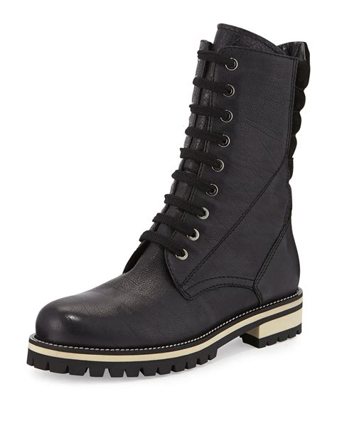 leather combat boots aquatalia elma lace up leather combat boot in metallic lyst