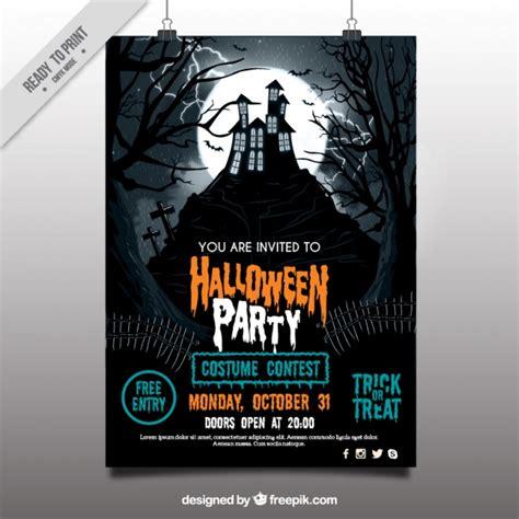cine en casa gratis cartel de fiesta de halloween con casa encantada