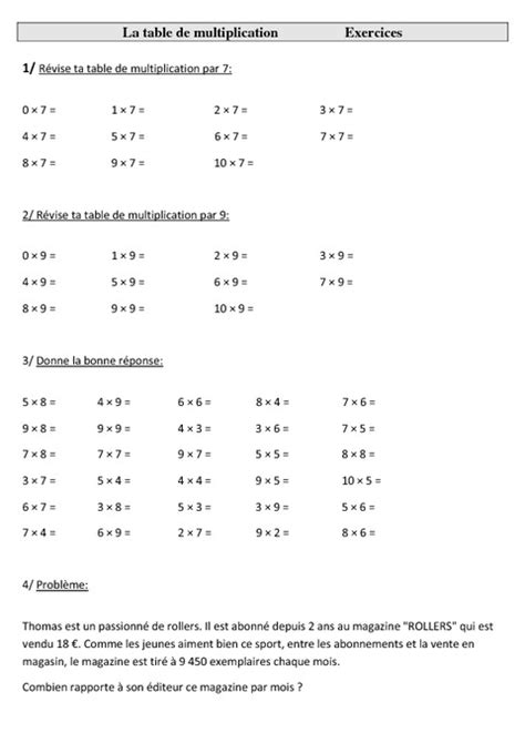 search results for tests tables de multiplication