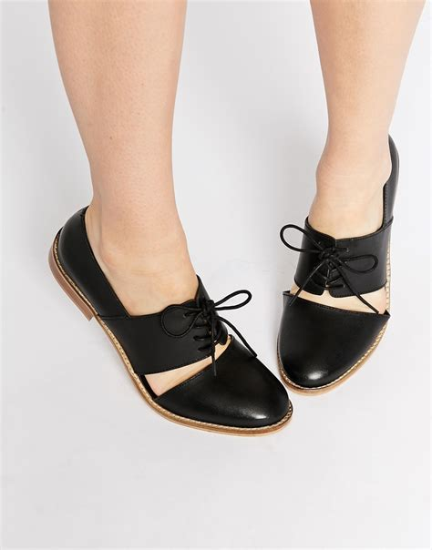 flat leather shoes asos marcie leather wide fit flat shoes in black lyst