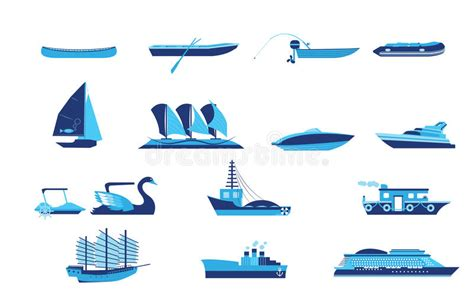 type of boat or ship types of boat and ship transportation stock vector