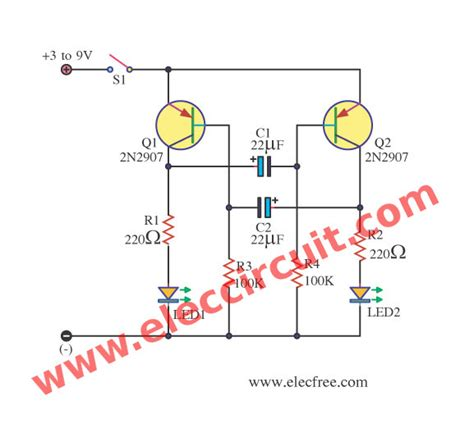 Lcd Dual Charger Bc Q2 dual led flasher using 2n2907 electronic projects circuits
