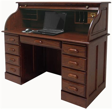 Top Office Desks 54 1 2 Quot W Deluxe Solid Oak Roll Top Desk W Laptop Clearance