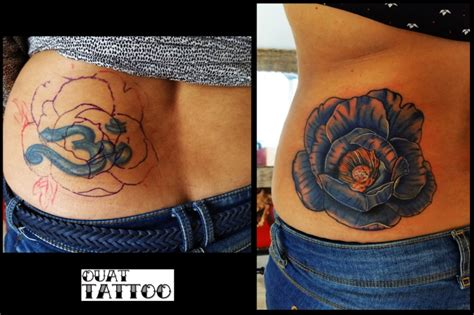 ouat tattoo fleur cover tatouage couleur par ouat tattoo