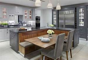 picture of kitchen island with a built in seating area