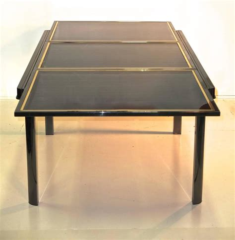 Black Glass Extending Dining Table Extending Dining Table Smoked Chrome Black Glass Brass Trim For Sale At 1stdibs