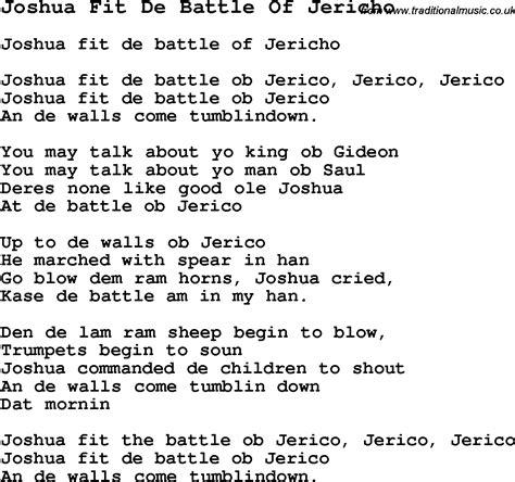 i fought the testo joshua fought the battle of jericho lyrics