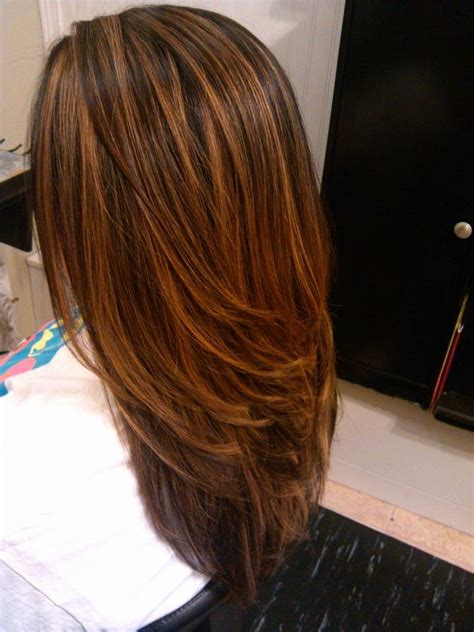 hi and low lights on layered hair balayage caramel les mod 232 les les plus fashion coiffure