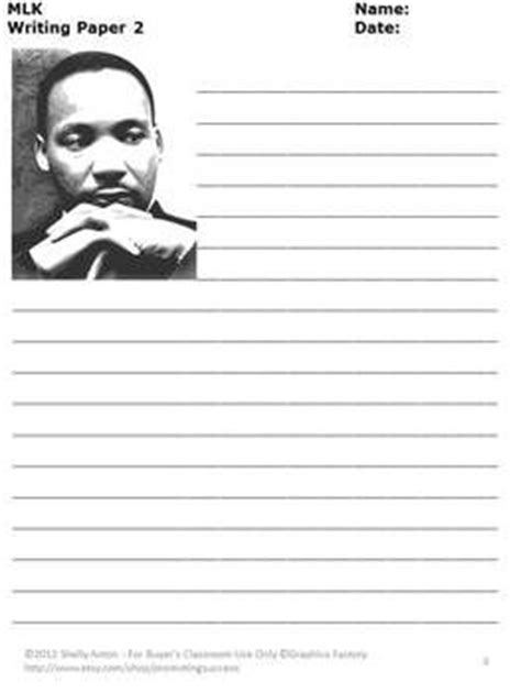 martin luther king jr writing paper martin luther king day