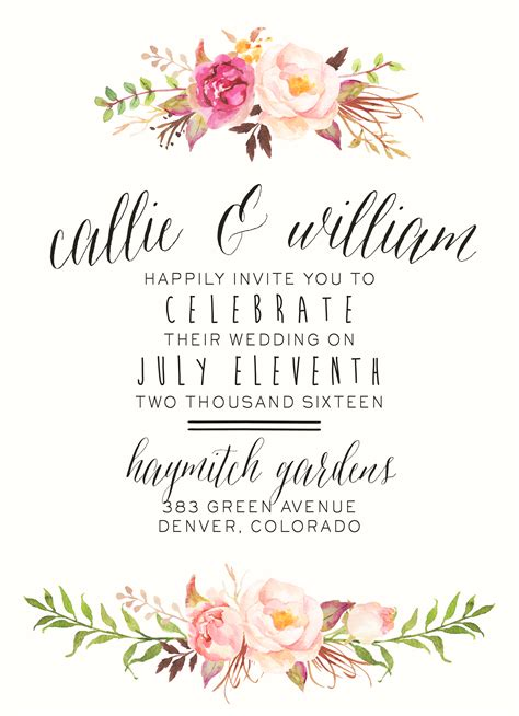 Flower Wedding Invitations watercolor floral wedding invitation by splashofsilver
