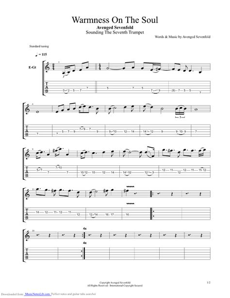avenged sevenfold nightmare guitar music on 1 musica musik warmness on the soul guitar pro tab by avenged sevenfold