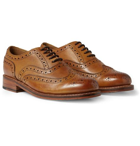 wingtip shoes grenson stanley leather wingtip brogues in brown for