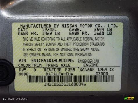 2003 nissan sentra gxe color code photos gtcarlot