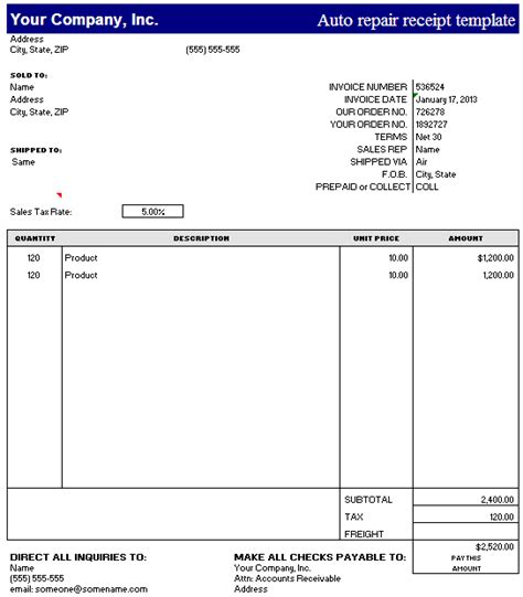 Free Car Payment Receipt Template by Auto Repair Receipt Template Excel Free Receipt Template