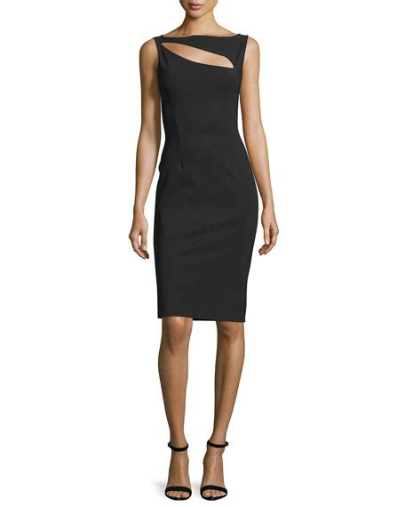 Cutout Sheath Knit Dress chiara boni la robe sleeveless cutout cocktail