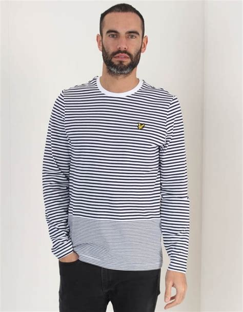 Stripe Sleeved T Shirt lyle and sleeved stripe tshirt navy