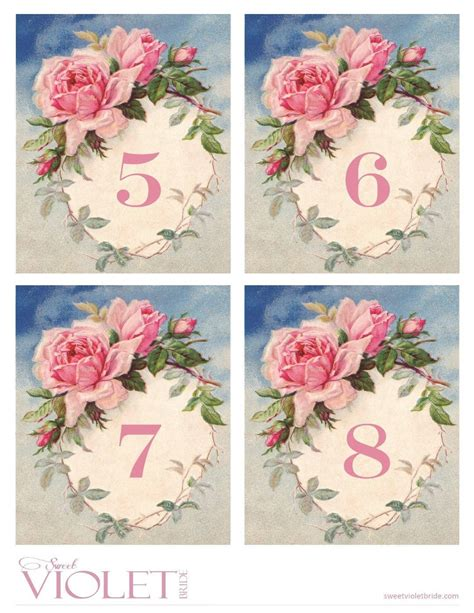 free printable vintage numbers romantic vintage rose table numbers free wedding printable