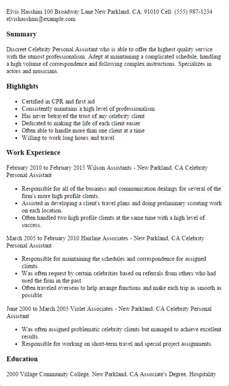 personal assistant resume professional personal assistant templates to