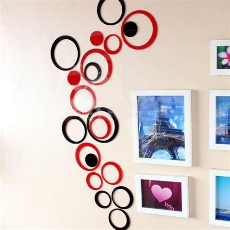 Sticker 3d Wallpaper Dinding Circle Ring 5pcs creative diy ring design three dimensional acrylic mirror acrylic wall stickers living