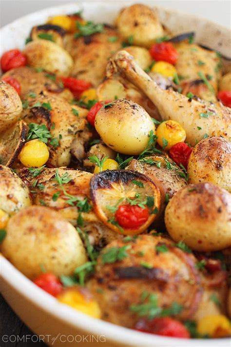 comfort of cooking yummy moment roasted lemon chicken with tomatoes