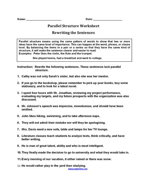 best solutions of sentence structure worksheets for high