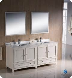 Fresca oxford 72 quot double sink bathroom vanity antique white finish