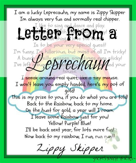 free printable letters from leprechaun letter from a leprechaun printable and magical rainbow