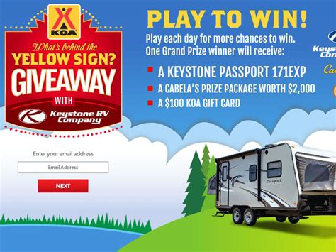 Koa Gift Card - the koa what s behind the yellow sign giveaway sweepstakes fanatics