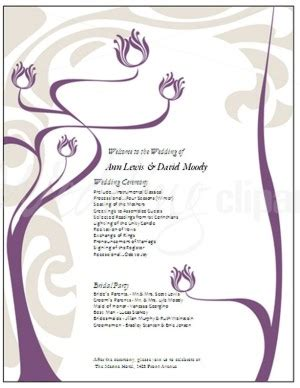 printable purple lotus flower program template