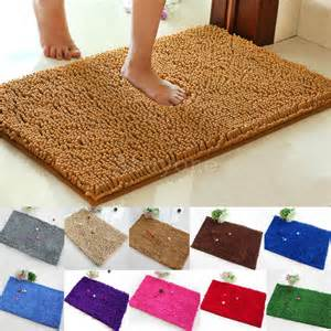 Fluffy Bathroom Rugs Fluffy Chenille Rug Floor Mat Bath Doormat Carpet Bedroom Bathroom Rectangular Ebay