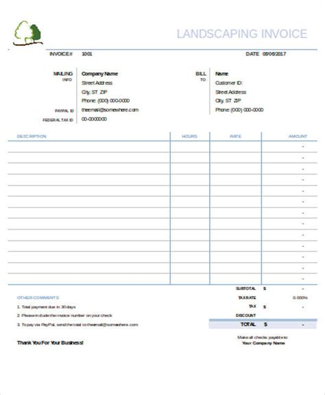 6 Landscaping Invoice Sles Exles In Pdf Word Excel Sle Templates Landscaping Invoice Template Excel
