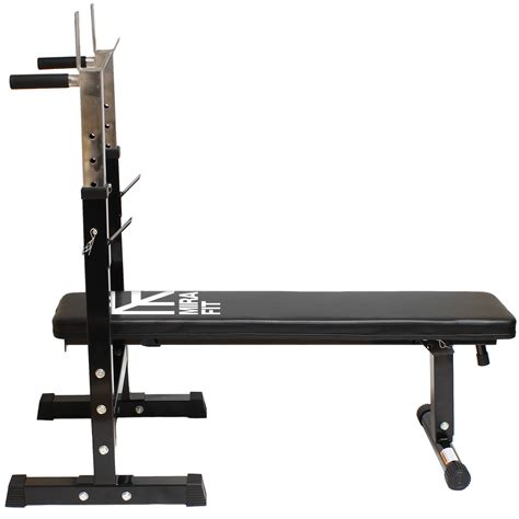 collapsible bench press mirafit adjustable folding flat weight bench dip station